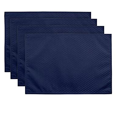 ColorBird Elegant Waffle Jacquard Doily Place Mat Waterproof Spillproof Microfiber Fabric Table Placemats, 13 x 19 Inch, Set of 4, Navy Blue