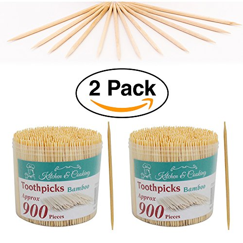 2 Pack  Natural Bamboo Thin Toothpicks 1800 ct 900ct each