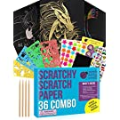 Purple Ladybug Scratch Paper Art Set for Kids! Variety Pack with 36 Full Sized Sheets, 3 Unique Colors: Rainbow, Gold, Silver + Stencils! Great Gift for Teens, as Kids Art Supplies, Fun DIY Crafts!