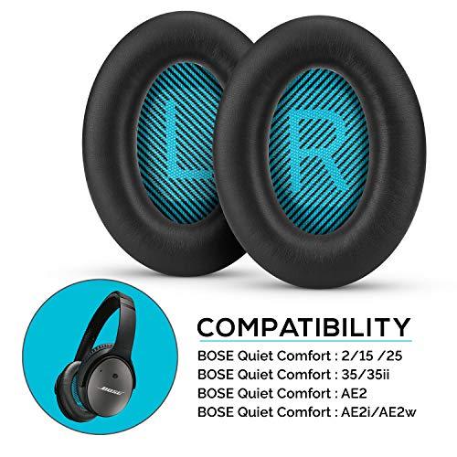Brainwavz - Almohadillas para auriculares Bose QC15 QC25 QC35 II AE2 AE2i AE2w, QuietComfort, SoundTrue y SoundLink, con espuma de memoria, almohadillas para los oídos, color negro