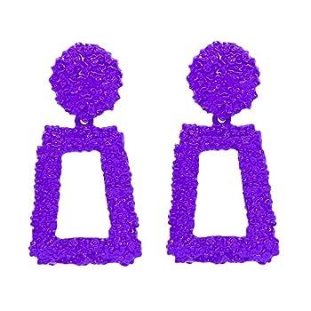 Purple Metallic Raised Design Rectangle Statement Earrings Fashion Jewelry KELMALL COLLECTION