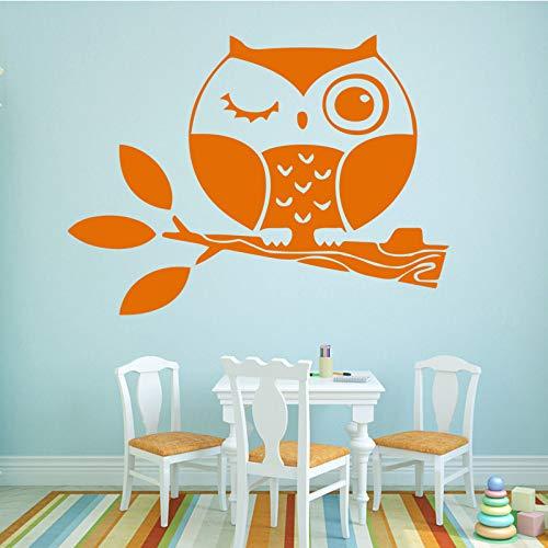 Schöne Eule Wallsticker Home Decoration Selbstklebende Wandaufkleber für Wohnzimmer Schlafzimmer DIY Wandkunst Aufkleber Kaffee XL 58cm x 71cm