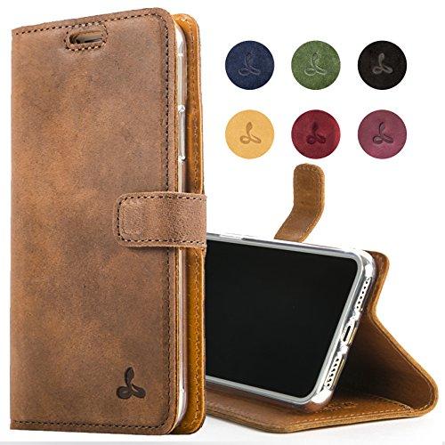 Snakehive iPhone 8 Plus Handy Schutzhülle/Klapphülle echt Lederhülle mit Standfunktion, Handmade in Europa für iPhone 8 Plus - Braun