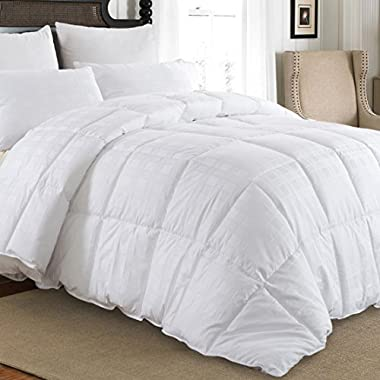 downluxe Luxury Warm Down Comforter Queen Size Down Duvet Inserts - Baffle box-Hotel Quality 600TC 650+ Fill Power 100% Cotton Shell Down Proof With Tabs- Queen,White