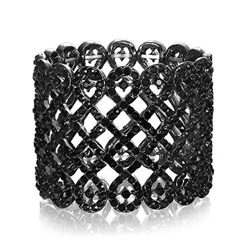 EVER FAITH Damen Armband österreichischer Kristall Art Deco Love Knot breites Braut-Stretcharmband Armreif Armkette Schwarz