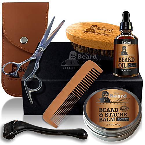 THE BEARD LEGACY Beard Grooming & Trimming Kit, Derma Roller, Beard Brush, Beard Comb, Unscented Beard Oil For Patchy Beards, Mustache/Beard Balm Butter Wax, Barber Scissors, Beard Growth Gift Set.