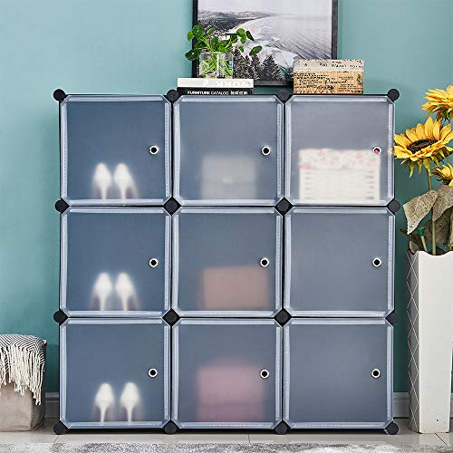 HomeSailing Modern DIY Plastic 9 Cube Storage Organizer Closet Portable Wardrobe Armoire Simple Modular Bookcase Storage Shelving System with Doors for Kids Bedroom Dormitory Living Room