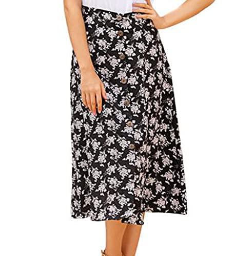WZXHNYYZYQ Ladies' Fresh and Sweet Middle Skirt Printed Button Skirt High Waist Obviously Thin Irregular Skirt Black