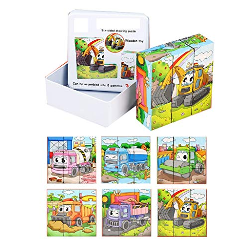 Houten puzzels Zeszijdige 3D Jigsaw 9 Blocks Volwassen Kinderen Brain Challenge Interactieve denkspel Fun Toy Voertuig van de Techniek