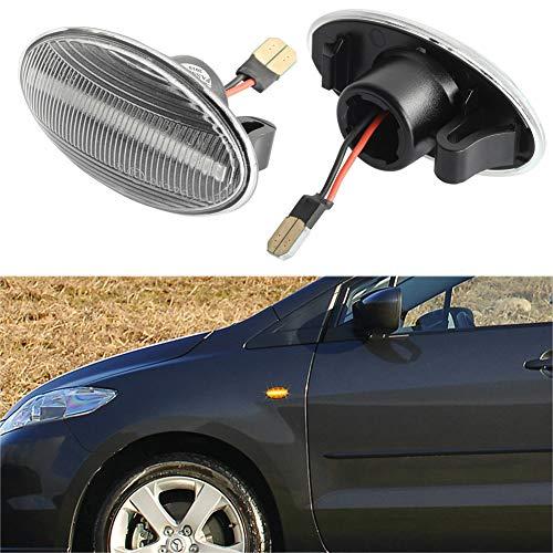 [1 par] OZ-LAMPE LED luces de giro marcadoras laterales, luces indicadoras de dirección [color ámbar] para MAZD-A 2 2011-2013, MAZD-A 3 2004-2011, MAZD-A 5 2006-2010, MAZD-A MPV (Lente transparente)