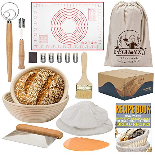 EGHOMZ Banneton Bread Making Tools And Supplies Set Of 2, 9 & 10 Inch Bread Proofing Basket Round Including 2 Dough Scrapers, Danish Dough Whisk, Baking Brush & Mat, Bread Lame With 5 Blades