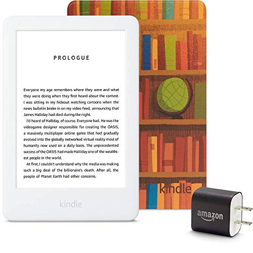 Kindle Essentials Bundle including Kindle, now with a built-in front light, Amazon Printed Cover, and Power Adapter. Buy it now for 94.97