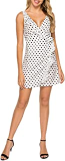 Yinew V-collo increspato floreale a pois stampa abito pizzo irregolare vestito estivo senza maniche prendisole moda gonna ...
