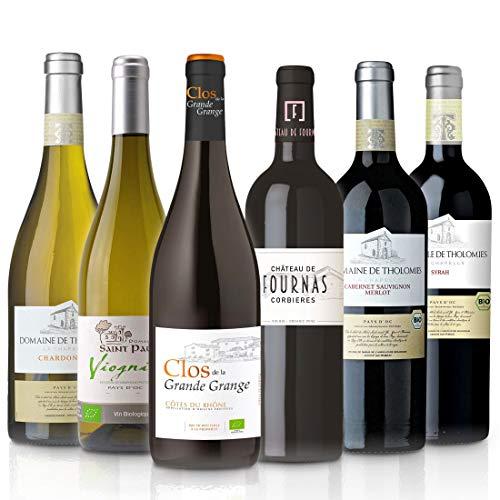 FEINSTE WEINE Weinpaket \'Süd-Frankreich\' (6 x 0,75 l) Probierpaket mit trockenem Weißwein und Rotwein von französischen Winzern