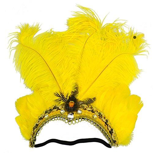 ShiyiUP Tocado de Plumas de Danza del Vientre para Masquerade Amarillo