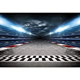CSFOTO 10x9ft Finish Line Race Track Backdrops for Photography Car Racing Backgrounds Birthday Party Banner Bleachers Auto Motorsport Champion Sport Competition Adults Portrait Wallpaper