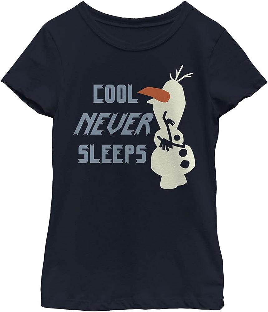Disney Frozen 2 Olaf Never Sleeps Girl's Solid Crew Tee