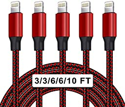 UNEN [Apple MFi Certified] 5Pack[3/3/6/6/10ft]Nylon Braided iPhone Charger Lightning Cable Fast Charging&Syncing Long Cord Compatible iPhone 12/11Pro Max/11Pro/11/XS/Max/XR/X/8/8P/7 and More-Black&Red
