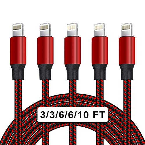 UNEN [Apple MFi Certified] 5Pack[3/3/6/6/10ft]Nylon Braided iPhone Charger Lightning Cable Compatible iPhone 12/11Pro Max/11Pro/11/XS/Max/XR and More