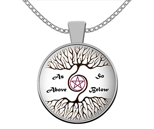 Esoteric Wicca Necklace - As Above so Below Pagan Black Pendant - Unique Alchemy Occult Gift Accessories