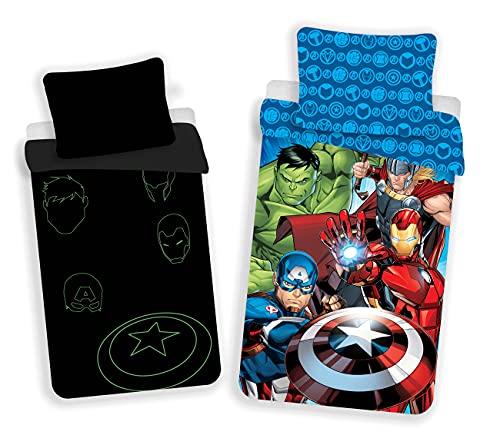 Juego de cama de Los Vengadores, brilla en la oscuridad, tamaño: 140 x 200 cm, 70 x 90 cm, 100% algodón