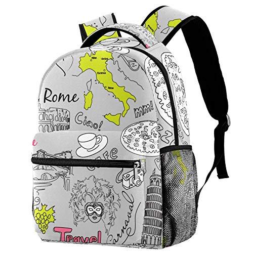 LORVIES Sightseeing in Italy Lässiger Rucksack, Schulterrucksack, Büchertasche für Schule, Studenten, Reisetaschen