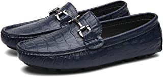 QinMei Zhou Casual Driving Loafer for Men Fashion Oxfords with Metal Buckle Flat Dress Shoes Comfortable Penny Slip-on Boat Shoes (Color : Blue, Size : 7 UK)