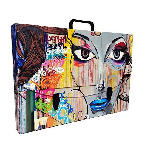 Valigetta scuola in Plastica 100% riciclabile stampata in alta qualità, misure 56X37X5 cm, Made in Italy (MARILU')