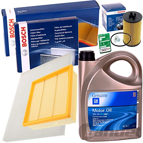 Bosch Filter Set Inspektions Satz 1x 5L GM Dexos 2 5W30 1x Verschlussschraube, Oelwanne1x Filter, Innenraumluft1x Luftfilter1x Oelfilter1x Oelwechselanhaenger