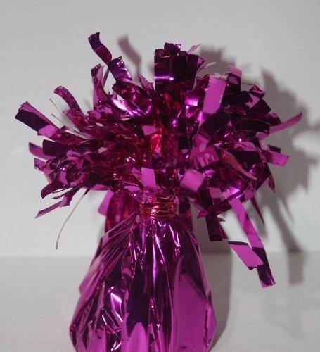 12 X contrapesos para globos de helio ROSA INTENSO cono de papel de aluminio, con borla