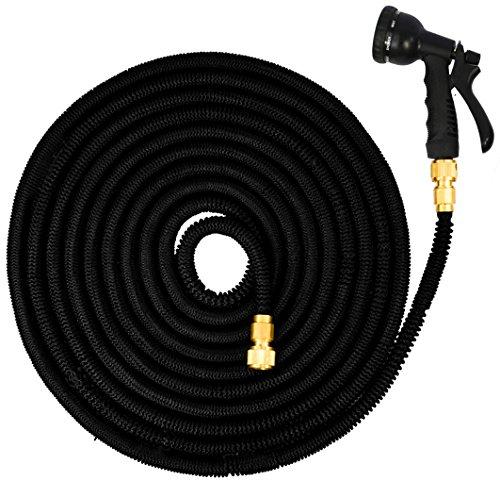 EYEPOWER Manguera de riego elástica la presión del Agua alarga su Longitud de 7,5m a 22,5m | Magic Hose + Pistola Rociadora | Conectores de latón | Negro