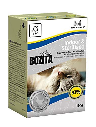 BOZITA Häppchen in Gelee Nassfutter Indoor&Sterilised - 16 x 190 g - nachhaltig produziertes Katzenfutter für erwachsene Katzen - Alleinfuttermittel