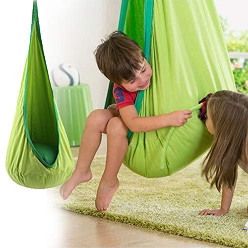 Hangende zitdakschommel, indoor schommel voor kinderen, stoel schommel pod, ruimtebesparende kinderpod chair groen