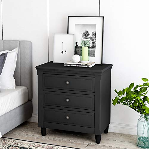 3 Drawers Nightstand, Merax Wood Bedside Storage Cabinet Fully Assembled, Accent End Side Table Chest, Perfect for Home Furniture, Bedroom Living Room Accessories, Black