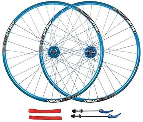 20 mm Bike Wheelset 26 Pulgadas MTB Bicicleta Rueda Delantera Rueda Trasera Doble Pared aleación Rim Lanzamiento rápido 7-10 Velocidad del Freno de Disco 32h (Color : Blue)