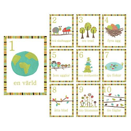 Kinderen inspireren ontwerp natuur thema Zweedse nummers 1-10 en tellen muur kaarten, 5