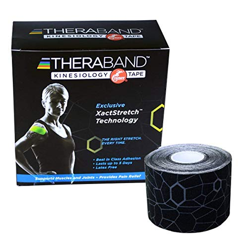 """TheraBand Kinesiology Tape, Waterproof Physio Tape for Pain Relief, Muscle & Joint Support, Standard Roll with XactStretch Application Indicators, 2"""" X 16.4"""" Roll, 6 Pack, Black/ Black"""