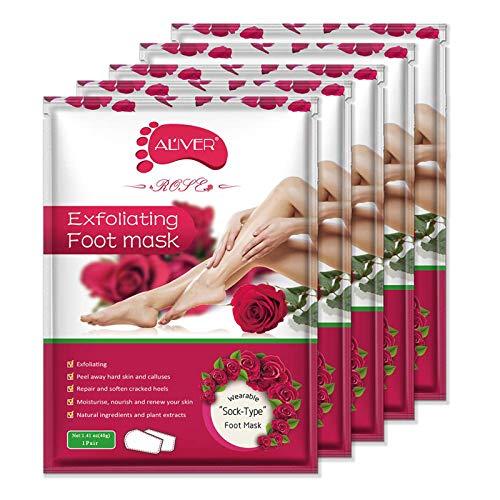 Foot Peel Mask 5 Pack, Exfoliating Callus Peel Booties,Peeling Off Calluses & Dead Skin, Baby Soft Smooth Touch Feet-Men Women (Rose)
