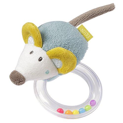 Fehn 065138 Rasselring Maus / Greifling zum Rasseln, Knistern, Fühlen, Spielen, mit kuschelweicher Stoff-Maus, für Babys und Kleinkinder ab 0+ Monaten