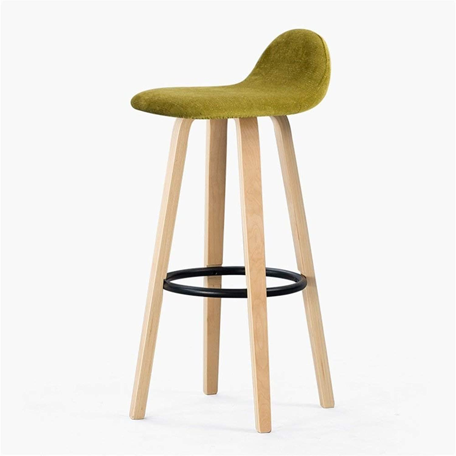 Bar Stool with Backrest Seat, Bar Kitchen Counter Height, Solid Wood Wrought Iron Vintage Linen Seat Cover (Wood color Wrought Iron Yellow Green)