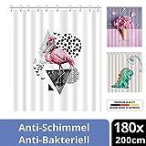 ERBI - Premium Textil Duschvorhang Shower Curtain bunt für Dusche Badewanne Anti-Schimmel Antibakteriell Wasserdicht Vorhang versch. Design Muster inkl. 12 Duschvorhangringen [180x200cm]