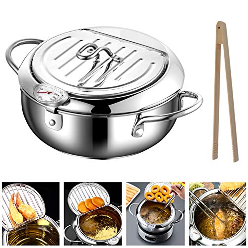 Kitchen Deep Fryer, Stainless Steel Fryer Pot, With Thermometer And Oil Drip Rack Lid, Save Oil Splash-Proof (9 inch, Silver)