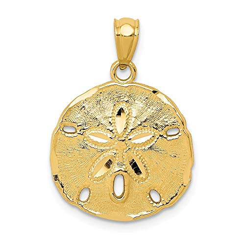 14k Yellow Gold Large Sand Dollar Sea Star Starfish Pendant Charm Necklace Seashore Seashell Fine Jewelry For Women Gifts For Her