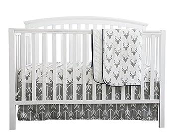Baby Boy Crib Bedding White Grey Woodland Arrow Antlers Deer Head Minky Blanket Navy Crib Sheet Deer Buck Crib Rail Bedding Set  Grey Arrow Deer Head 3 Pieces Set