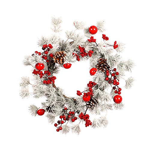 DAMEING 20inch Artificial Christmas Wreath Front Door Wreath with Red Berry Pine Cone, Grapevine Decorative Wreath for Window Holiday Christmas Decor Indoor Outdoor
