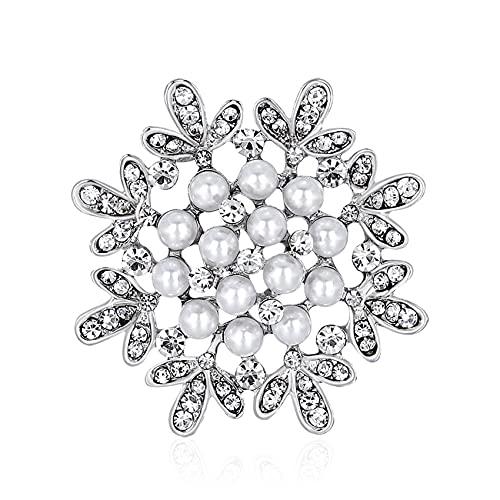 ZSDFW Broches de novia para mujer, perlas de imitación, accesorios de tela, para citas, fiestas, bodas, ocasiones formales