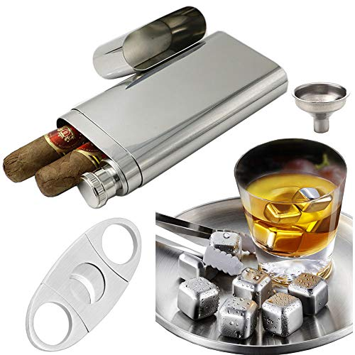 Perfect Pregame Cigar Flask Gift Set -Stainless Steel Chilling Rocks/Whiskey Stones (6) + Dual Cigar Flask (1) + Cigar Cutter(1)[Gift Set] + Funnel (1) + Tongs (1)