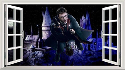 Chicbanners Harry Potter Hogwarts Castillo 3D Magic Window V0102 - Adhesivo Decorativo para Pared (1000 mm de Ancho x 600 mm de Profundidad)