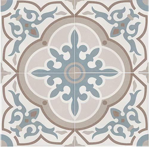 Casa Moro Mediterrane Keramikfliesen orientalisch Aydan 20x20 cm 1 qm Feinsteinzeug in Zementoptik frostsicher | Bodenfliesen & Wandfliesen für Bad & Küchenrückwand Flur & Badezimmer | FL7024