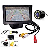 GoNec 4.3 Inch Reverse Parking Assistance Dashboard Screen 8 LED Camera Night Vision Camera Combo Compatible for All Cars
